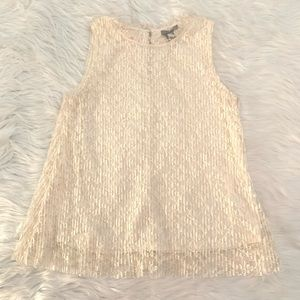 H&M cream pleated lace sleeveless blouse top